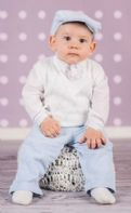 Boy's White/Blue 5 - piece Smart Outfit